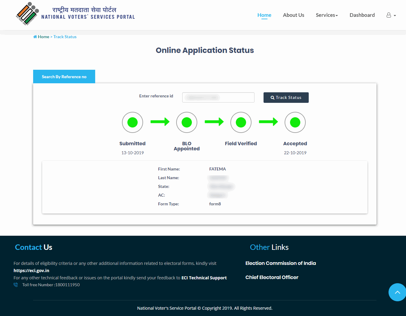 NVSP Application Status Accepted
