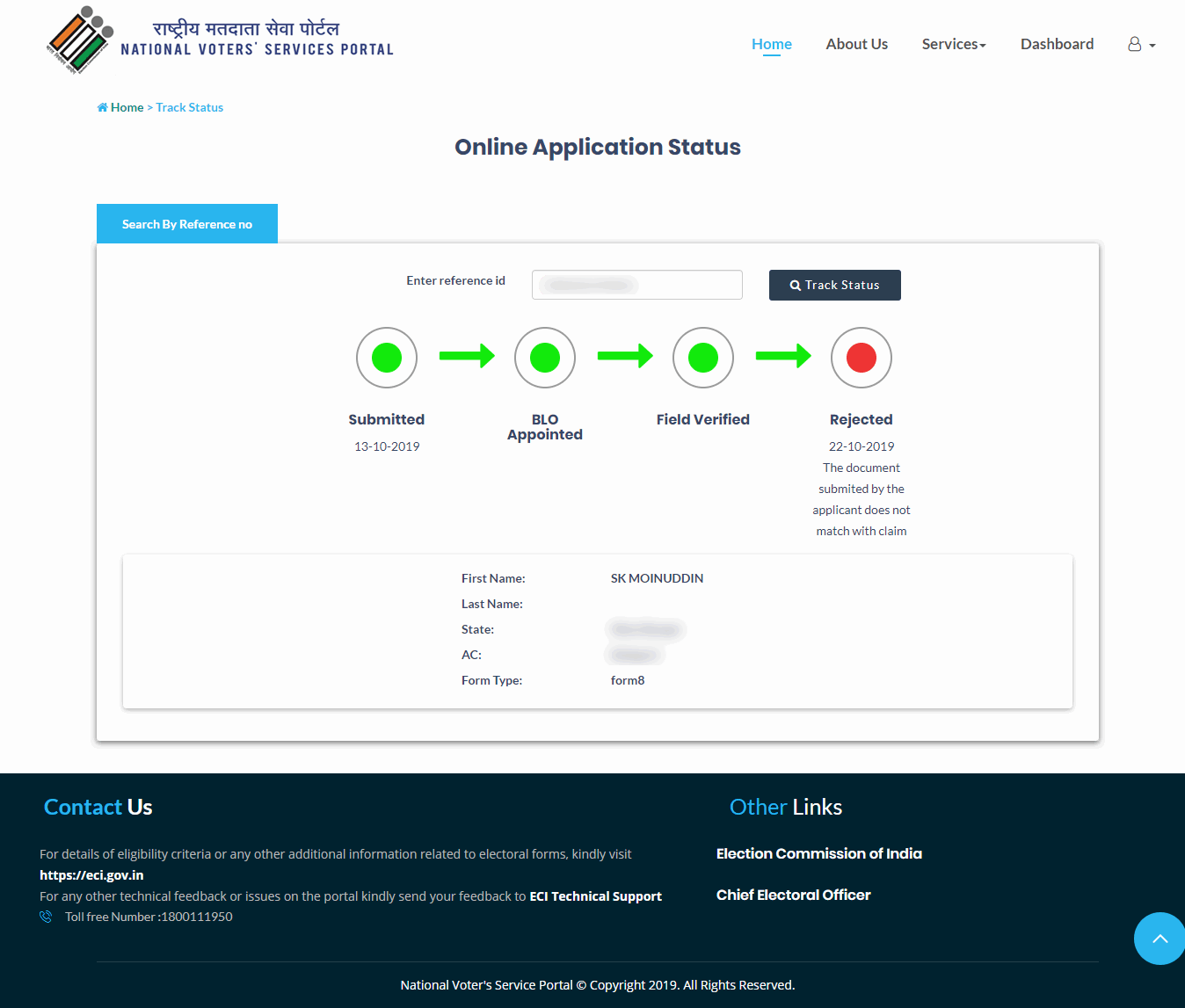 NVSP Application Status Rejected